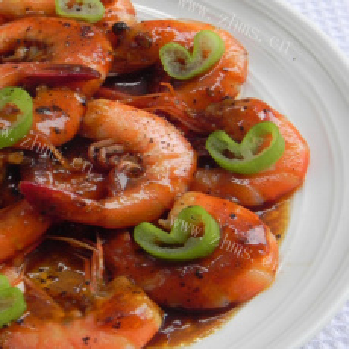 自制黑椒汁煎九节虾
