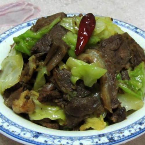 包菜干炒狗肉