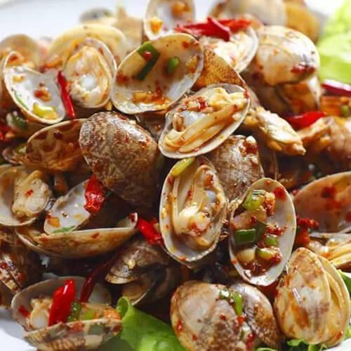 美味的辣炒蛤蜊