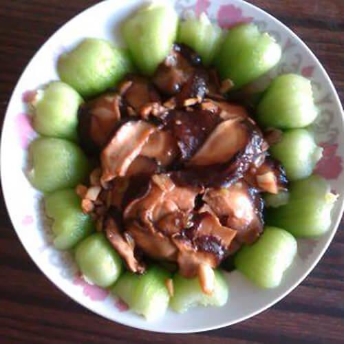 菜苔炒蘑菇