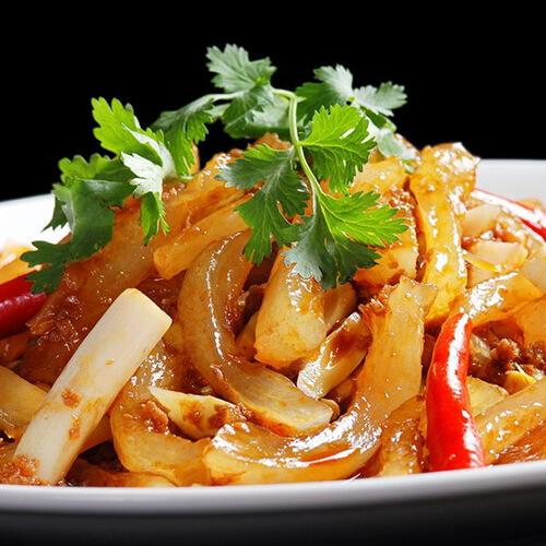 牛筋炒酸笋赣南腌菜干的视频做法图片