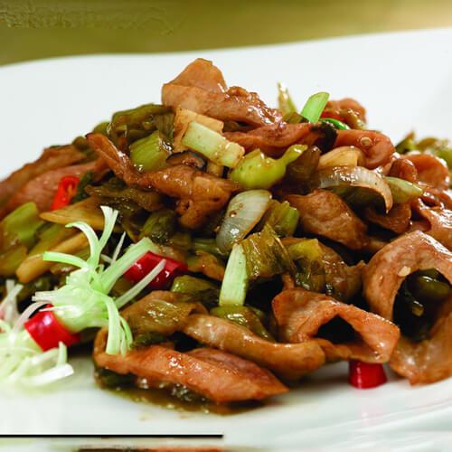 黑椒咸菜炒猪肠