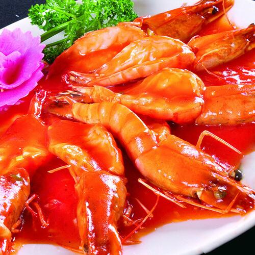 西红柿酿菊花虾
