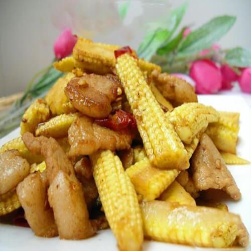 玉米笋炒蒟蒻