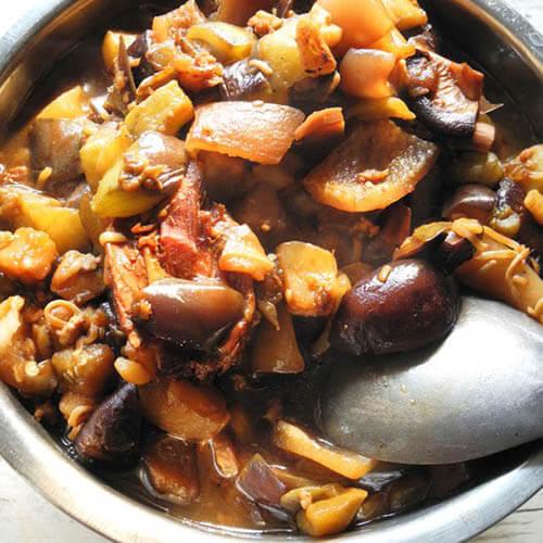 猪肉茄子干馅菜团子
