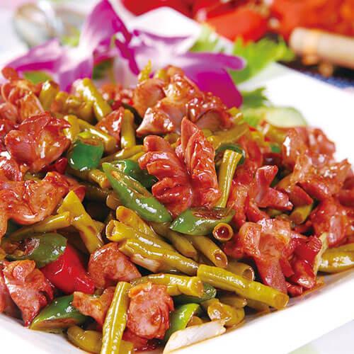鸡杂炒豇豆