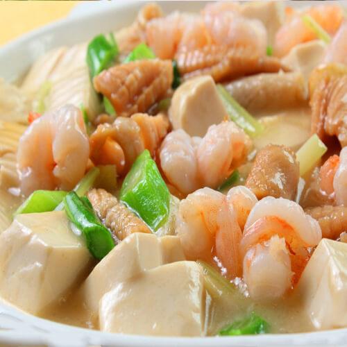 鱼虾豆腐煲