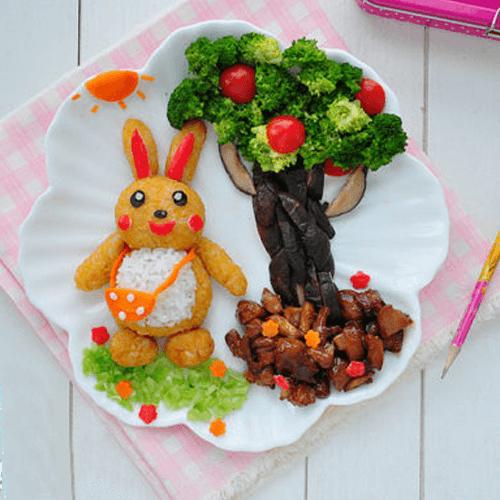 小兔去上学餐盘