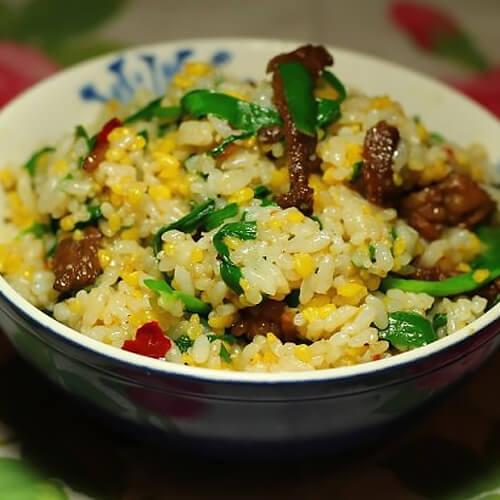 牛肉韭菜杂粮饭