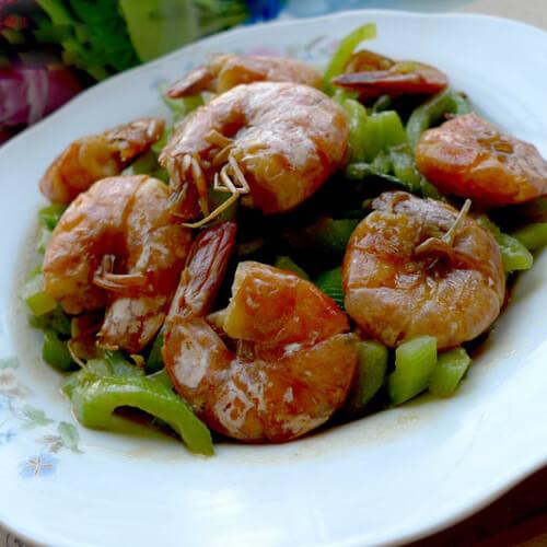 蛇瓜炒大虾
