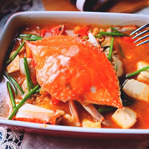 梭子蟹番茄豆腐煲