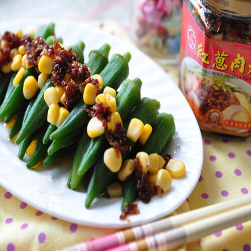肉酱鲜虾拌秋葵