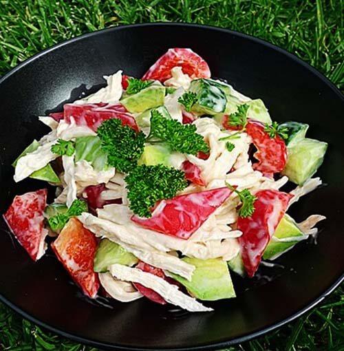 鸡丝红椒沙拉