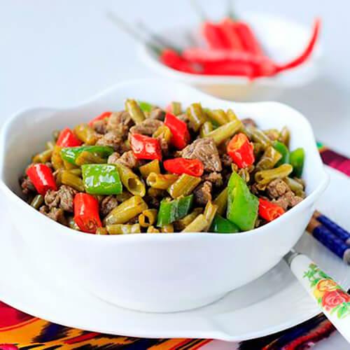 青红椒炒豇豆