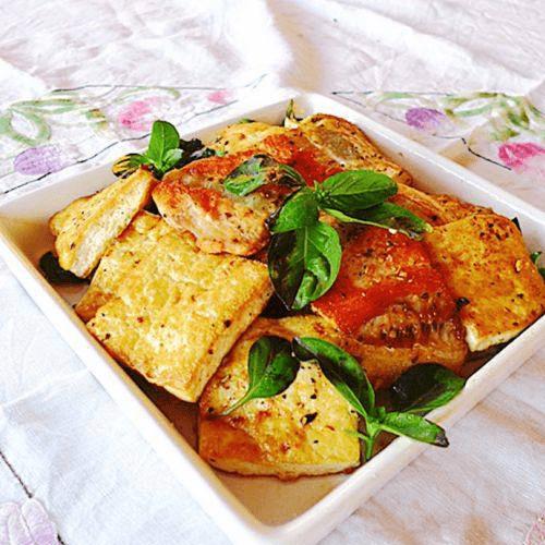 煎三文鱼骨板豆腐