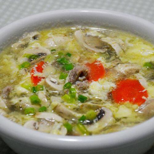 火鸡肉片蘑菇汤