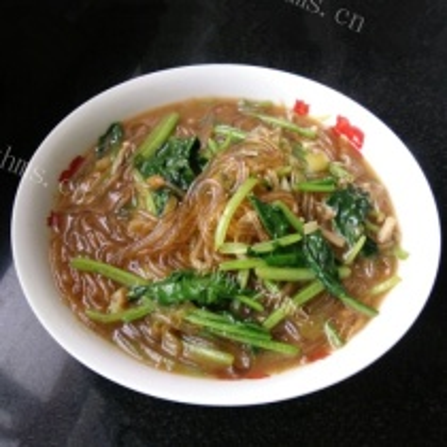 菠菜金针菇炖粉