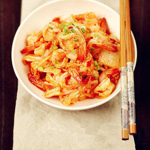 泡菜基围虾