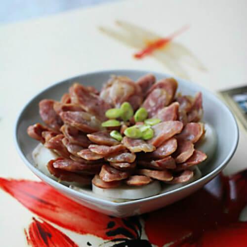 紫土豆香肠蒸山药