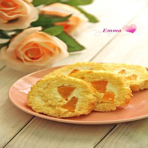 黄桃蛋糕卷