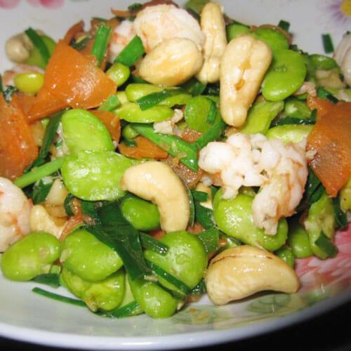 虾仁韭菜炒蚕豆