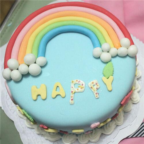 彩虹妹妹翻糖蛋糕