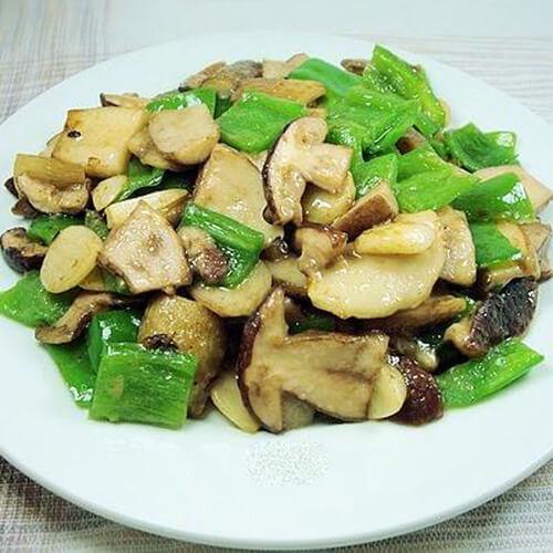野韭菜炒白牛肝菌