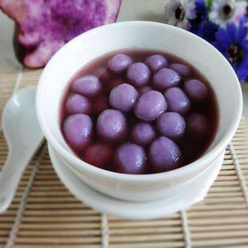 冬至紫山药汤圆