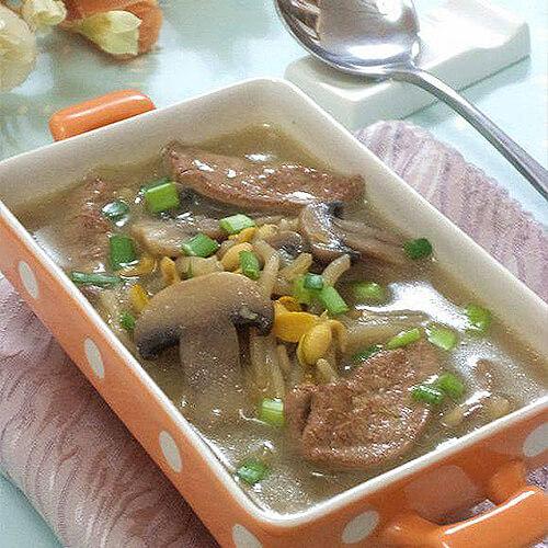 豆芽口蘑鸡肝汤
