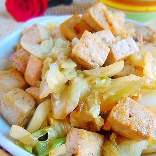 白菜梗烧豆腐果