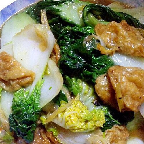 黄心菜炒豆泡