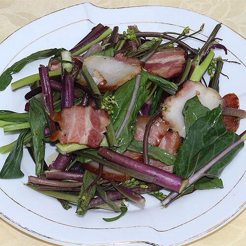红菜苔炒叉烧