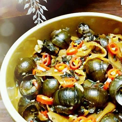 紫苏酸笋炒石螺