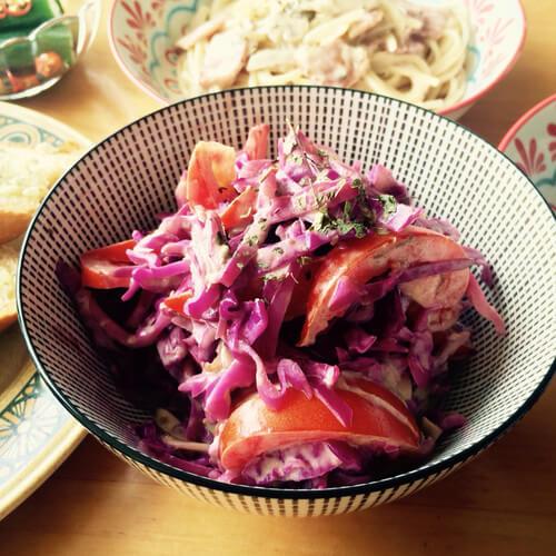 紫甘蓝牛油果色拉