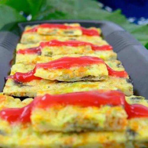 自制番茄沙司南瓜花饼