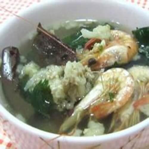 猪血鲜虾汤