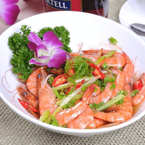 小葱烧海虾