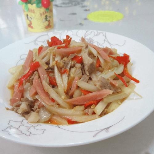 肉丝白菜炒辣椒