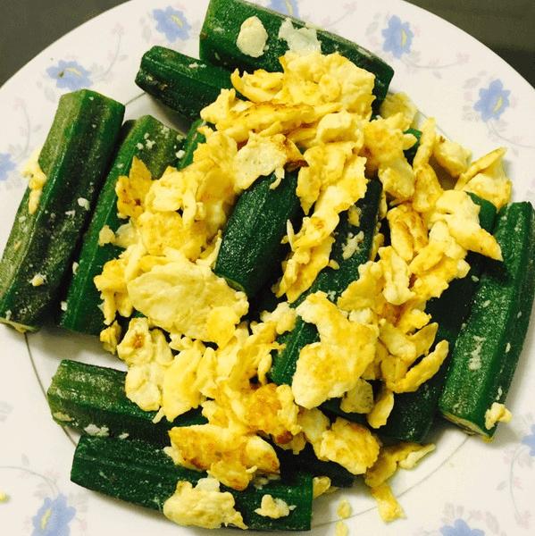 美味的秋葵炒鸡蛋