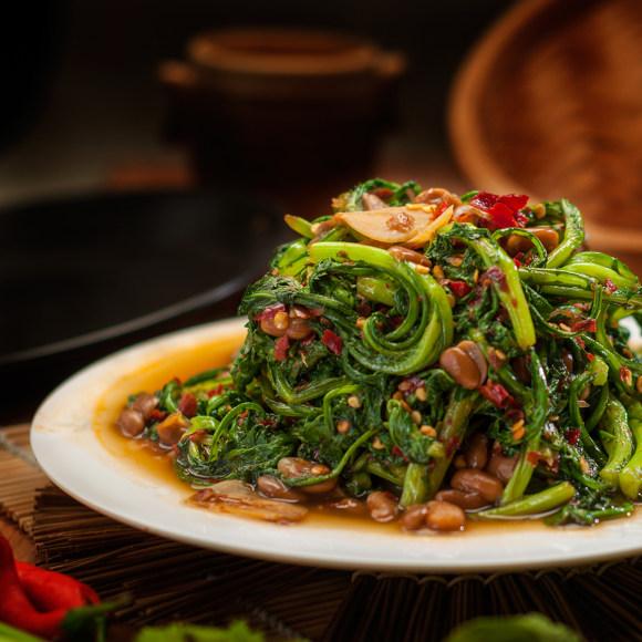 水豆豉炒茼蒿菜