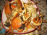 美味的蒸河蟹