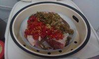 美味的双椒蒸鱼头