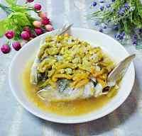 美味的榨菜蒸鱼头