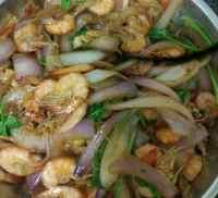 家常菜洋葱炒虾