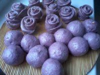 自制紫薯玫瑰花馒头
