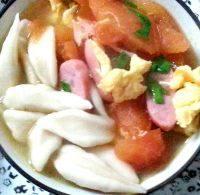 自己做的西红柿鸡蛋剪刀面