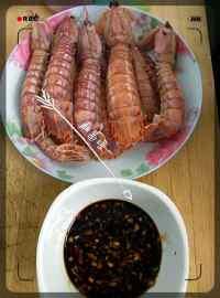 美味的白灼皮皮虾