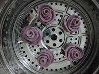 自己做的紫薯玫瑰花馒头