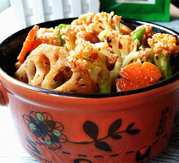 诱人的干锅花菜
