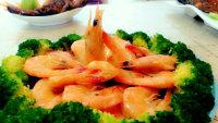 美味的清蒸鲜虾